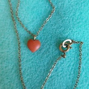 Dainty REAL Carved CORAL HEART necklace Vintage